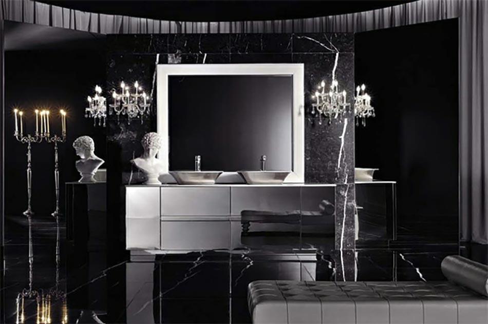 Salle de bain de luxe aux inspirations diverses design feria for Salle de bain design luxe noir et blanc