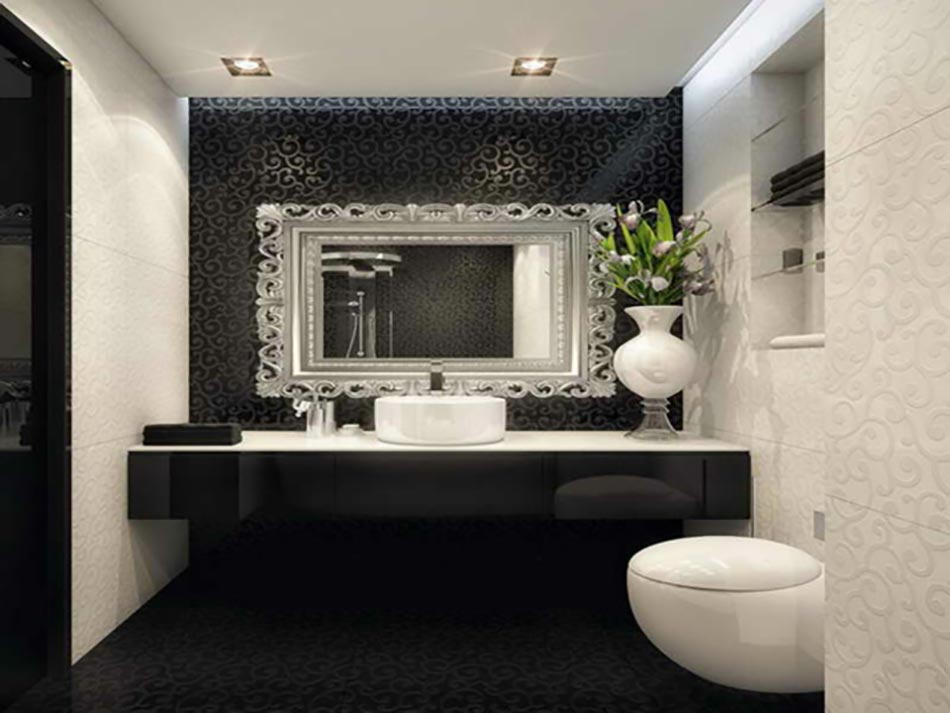 Miroir de salle de bain a lencadrement design design feria for Salle de bain design avec décoration cinéma maison