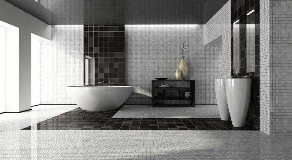 un exemple de salle de bains avec des tons monochromatiques rehausss par une touche dore - Exemple Salle De Bain Design
