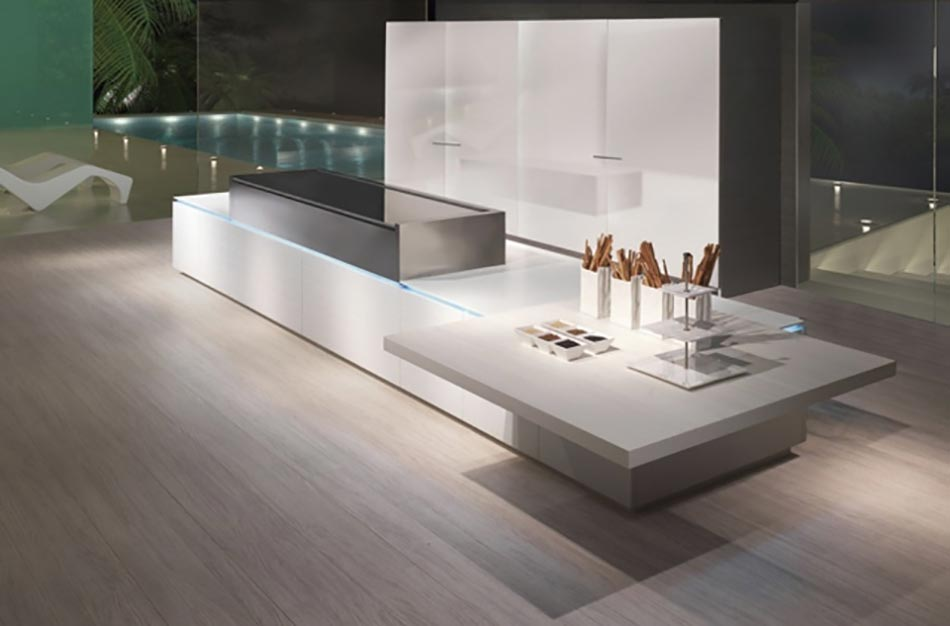 Cuisine minimaliste au design contemporain en blanc for Cuisine futuriste