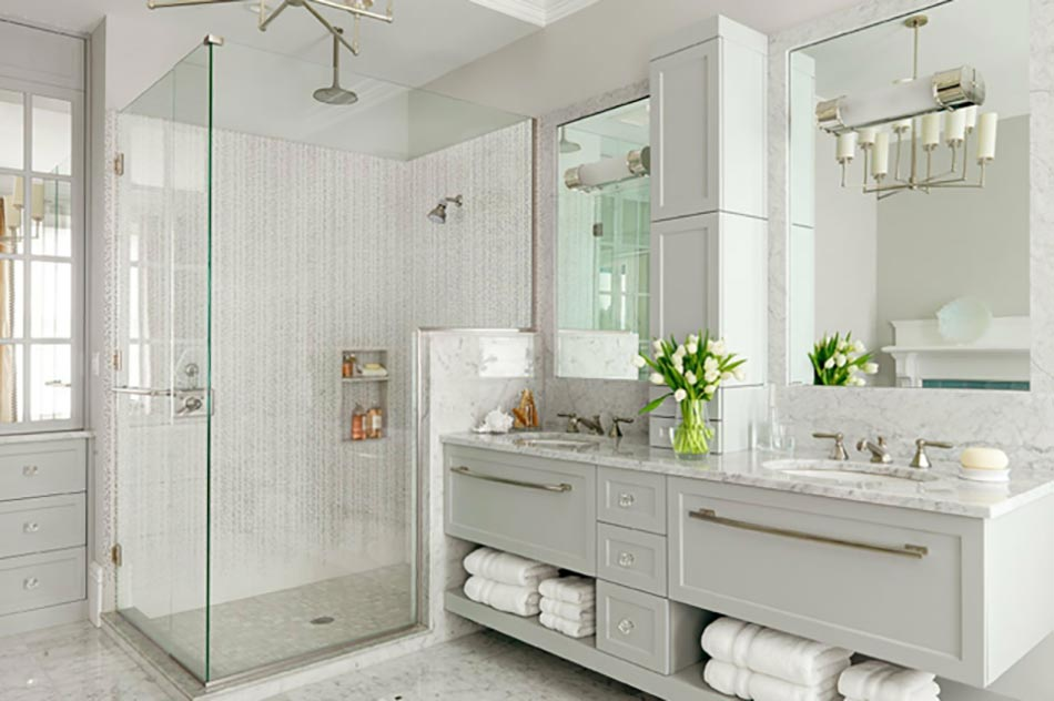 salle de bain en marbre design unique - Salle De Bain Contemporaine Blanche