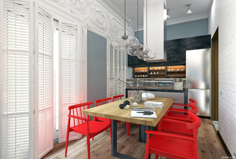 free belle cuisine moderne en blanc bleu et rouge with belle cuisine moderne. Black Bedroom Furniture Sets. Home Design Ideas