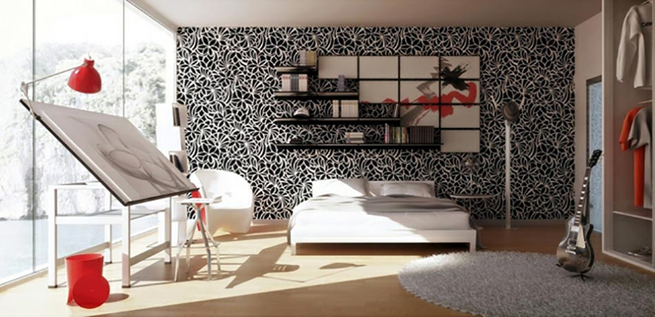les papiers peints en tant que d coration chambre cr ative design feria. Black Bedroom Furniture Sets. Home Design Ideas