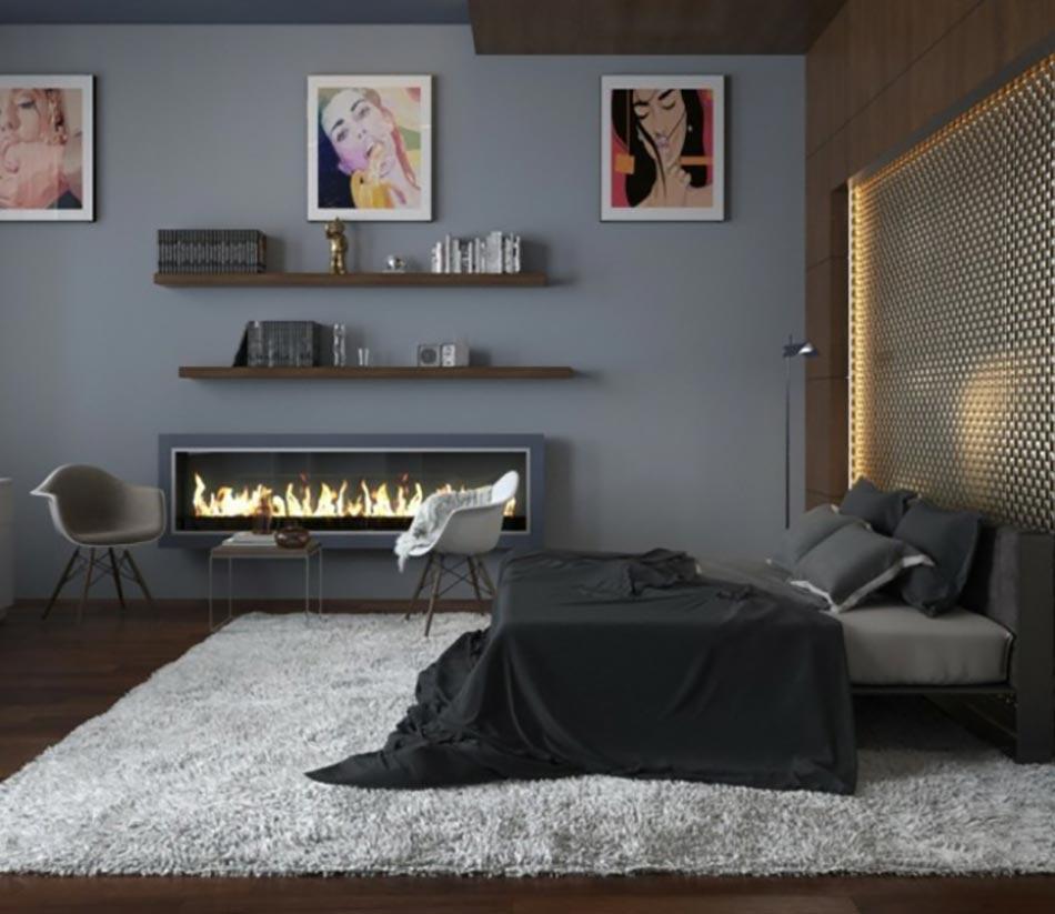 Murs et ameublement chambre tout en gris tendance - Couleur rideau avec mur gris ...
