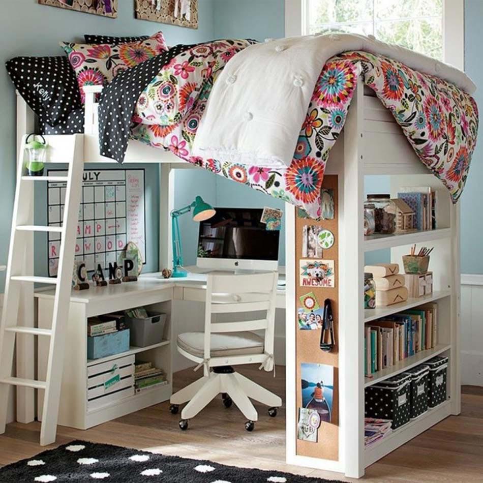 exemple de lit bureau optimisation de lespace dans la chambre enfant - Rangement Chambre D Enfant