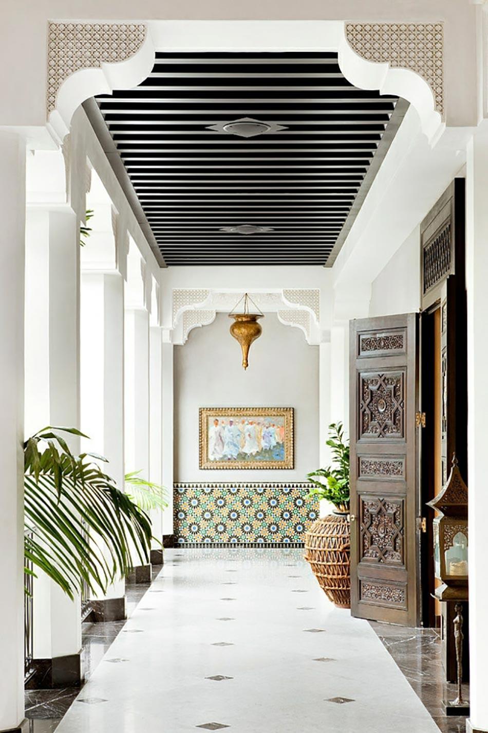 terrasse aux touches dalles maroc - Cheminee Contemporain Villa Marocaine