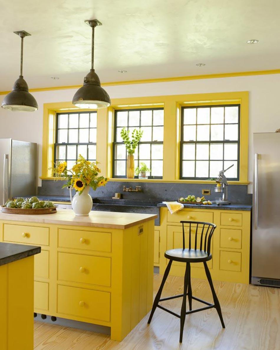 ambiance accueillante et conviviale dans une cuisine jaune design