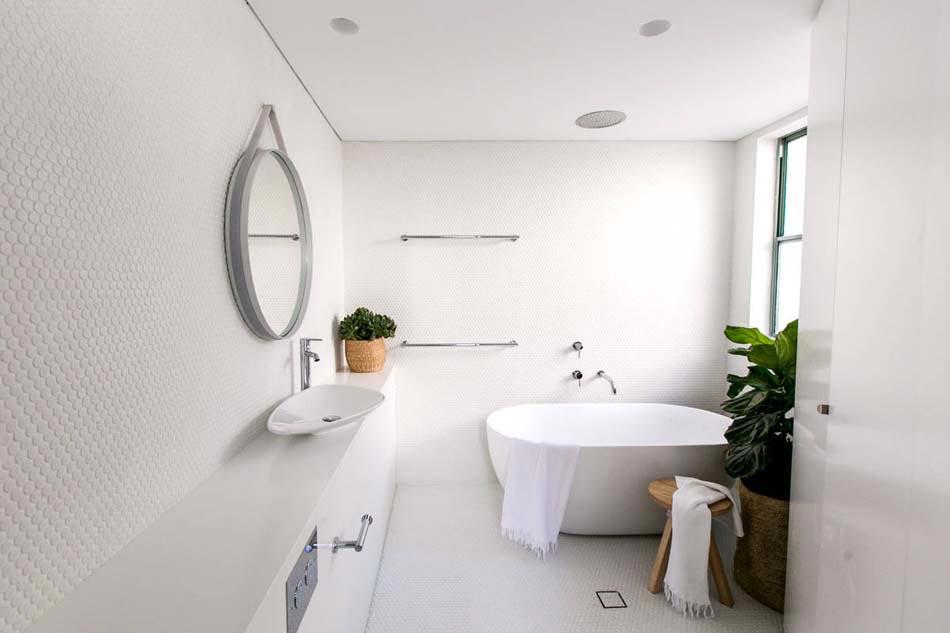 lambiance sympa et minimaliste pour la dcoration salle de bain avec des plantes vertes - Plantes Salle De Bain