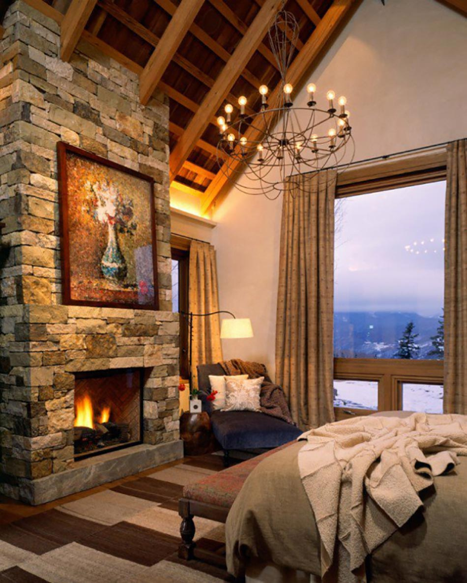l esprit montagne refl t dans une chambre rustique. Black Bedroom Furniture Sets. Home Design Ideas