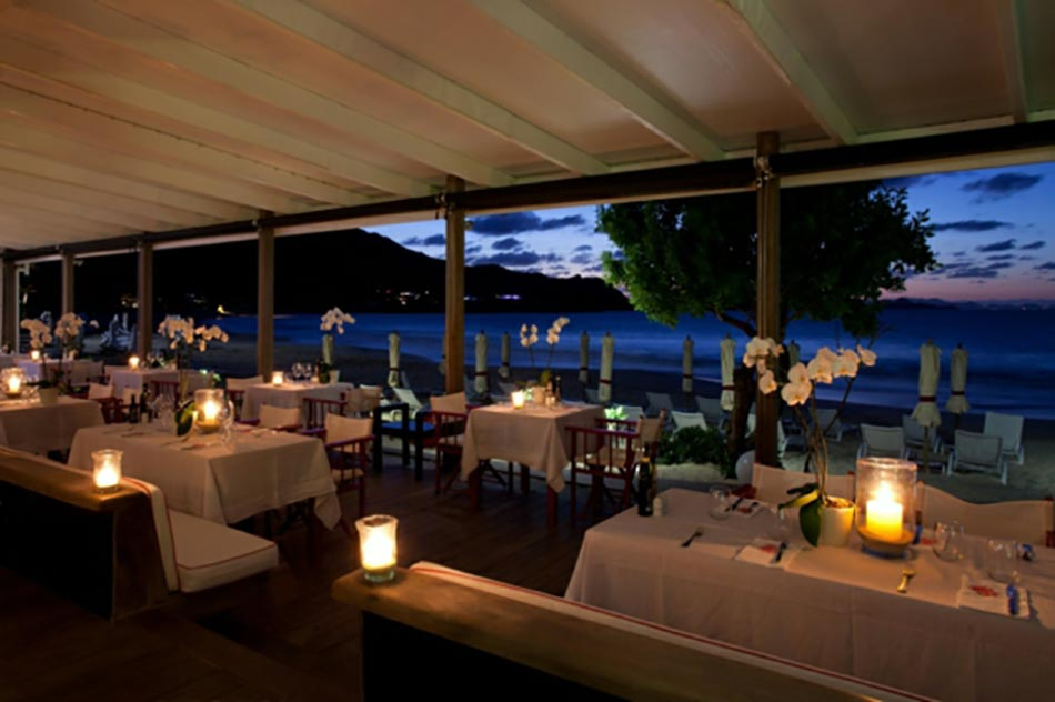 restaurant romantique plage saint barth