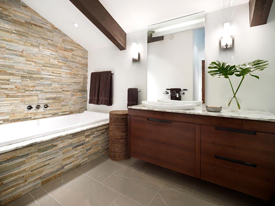 Salle de bain rustique grâce au mur en pierre créatif ...