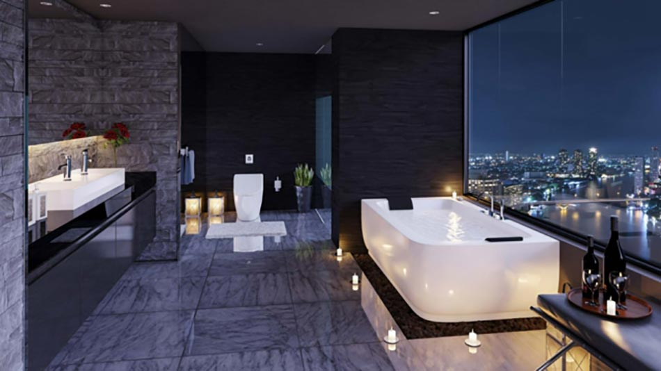 spacieuse salle de bain contemporaine de ville - Grande Salle De Bain Contemporaine