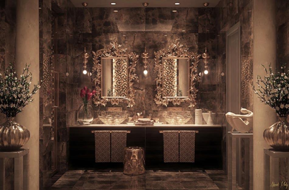 salle de bain de luxe dans les nuances dores - Salle De Bain Moderne De Luxe