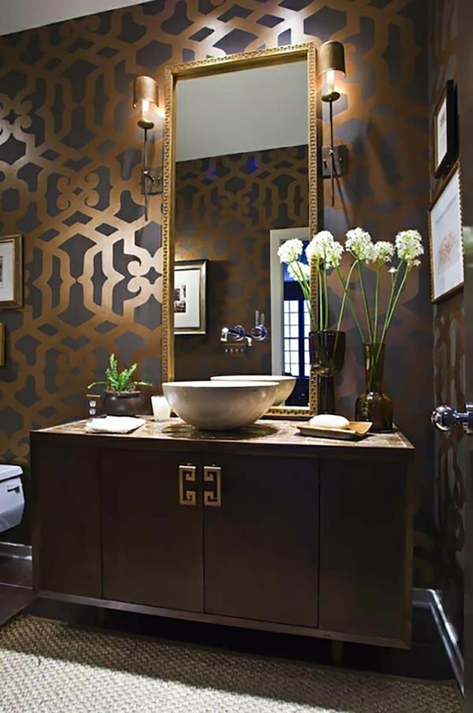 une dcoration de salle de bain moderne dore - Salle De Bain Moderne De Luxe