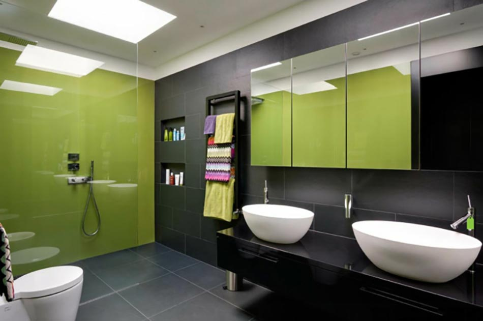 d co reposante et tendance en vert pour la salle de bain. Black Bedroom Furniture Sets. Home Design Ideas