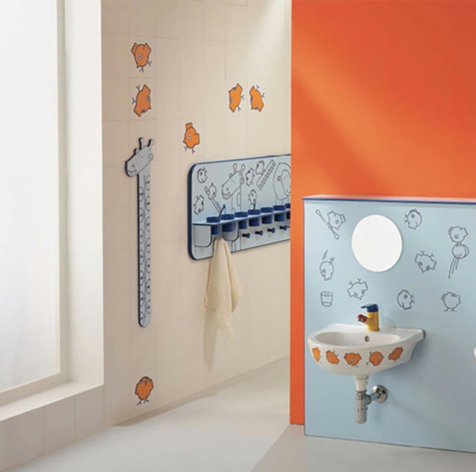 salle de bain enfant en bleu et orange - Salle De Bain Enfant