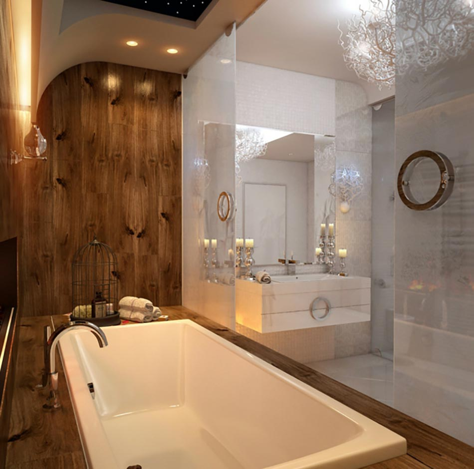 Salle de bain de luxe chic et originale design feria for Photo salle de bain design