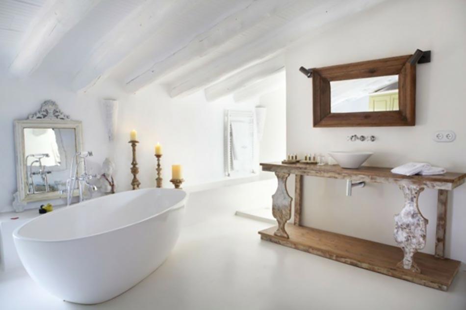 Miroir de salle de bain l encadrement design design feria - Salle de bain rustique chic ...