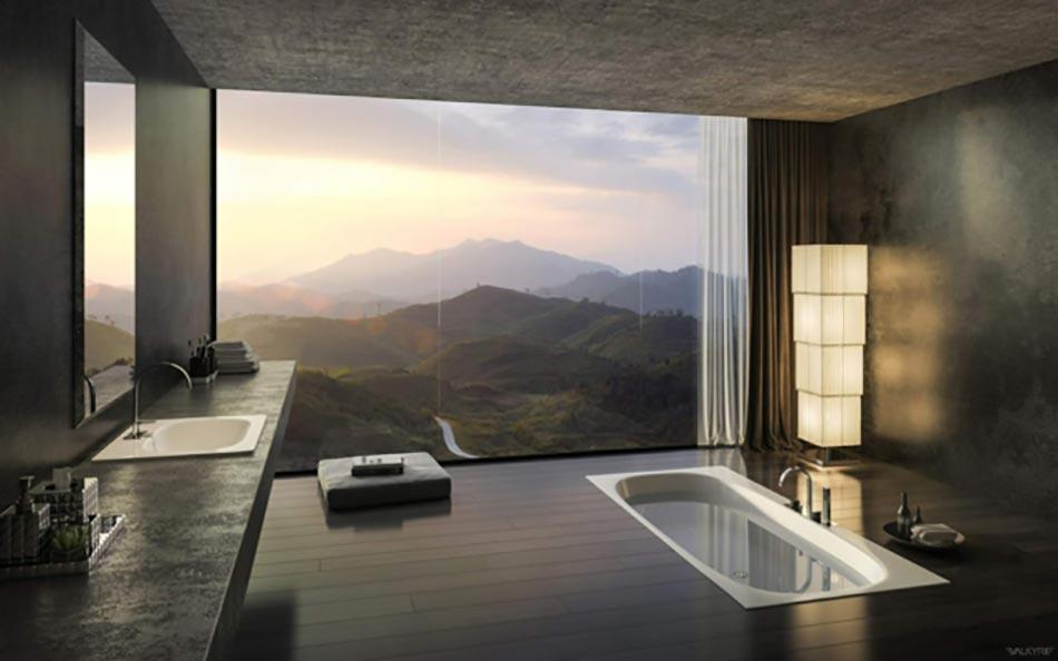 moderne salle de bain design avec un panorama splendide - Images Salle De Bain