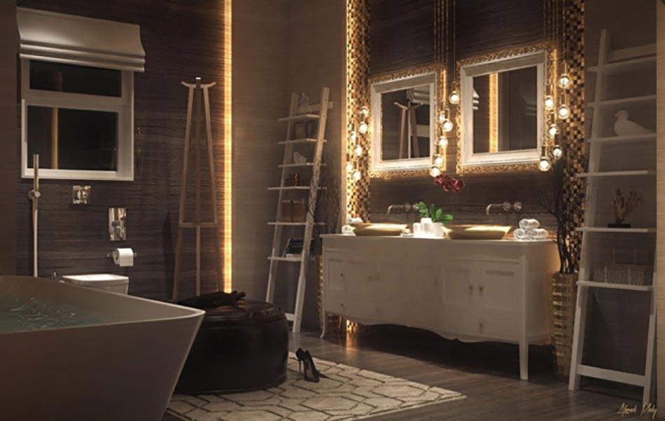 Salle de bain de luxe au design modern et chic design feria for Meuble salle de bain design luxe