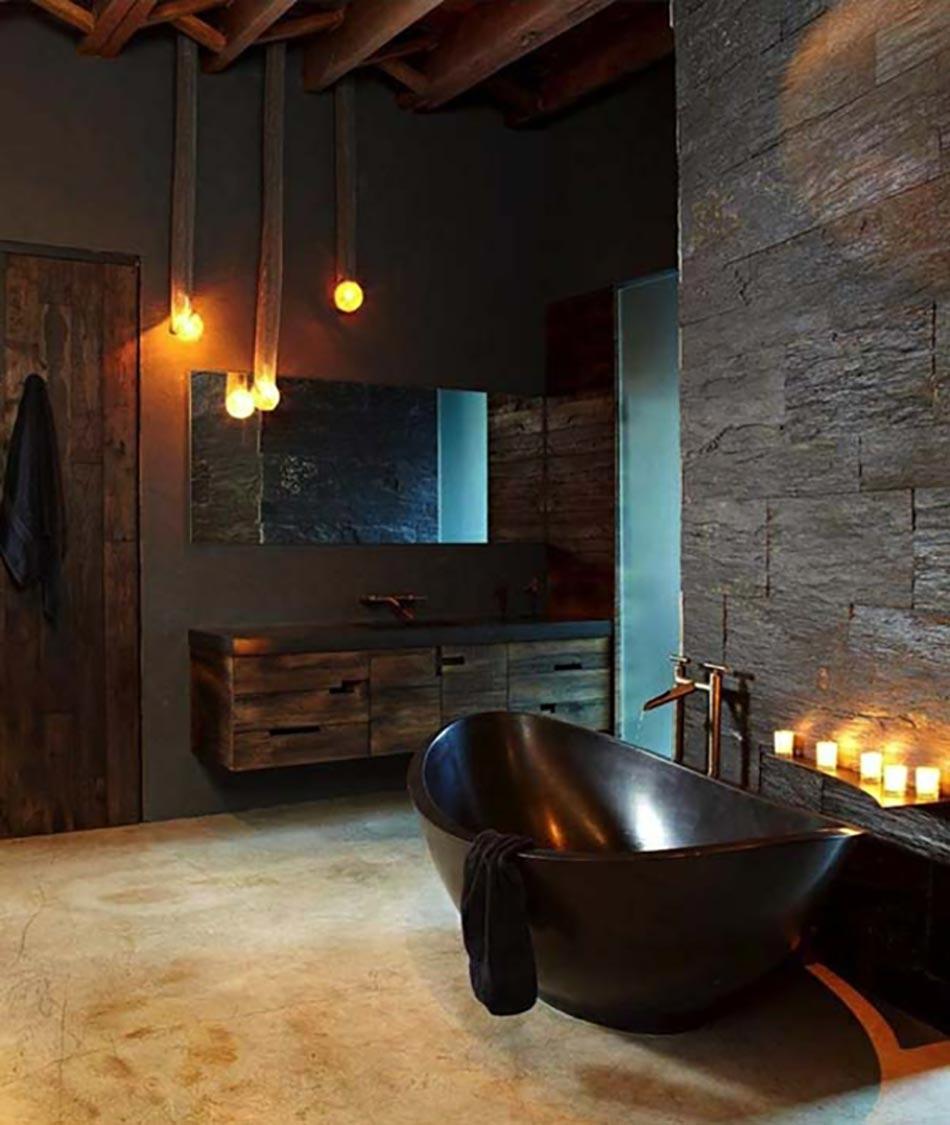 des teintes sombres pour une salle de bain moderne | design feria - Materiaux Salle De Bain