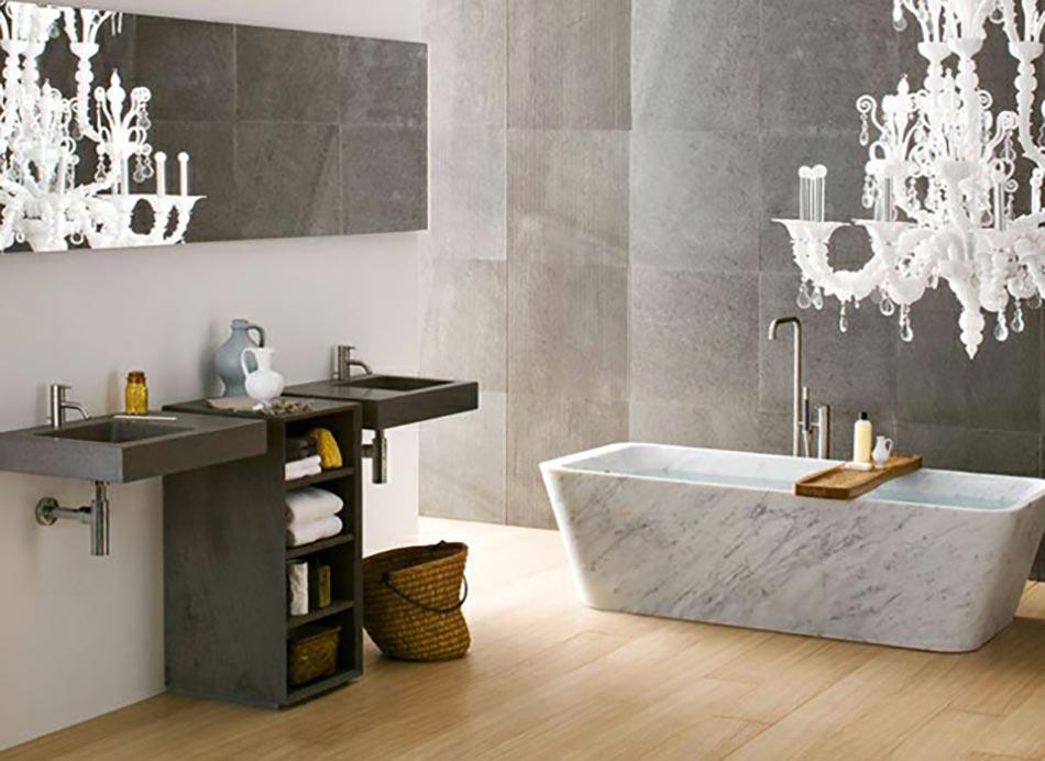 Salle de bain moderne pour une matin e coquette design feria for Photos decoration salle de bain moderne