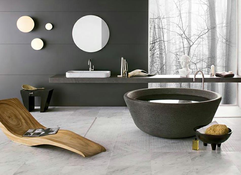 salle de bain en gris et bois massif - Salle De Bain Contemporaine Bois