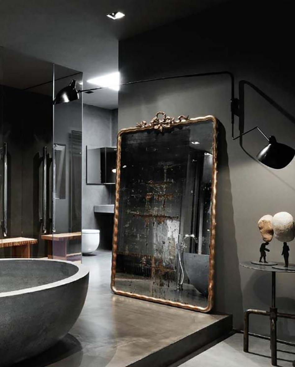 Des teintes sombres pour une salle de bain moderne for Salle de bain moderne