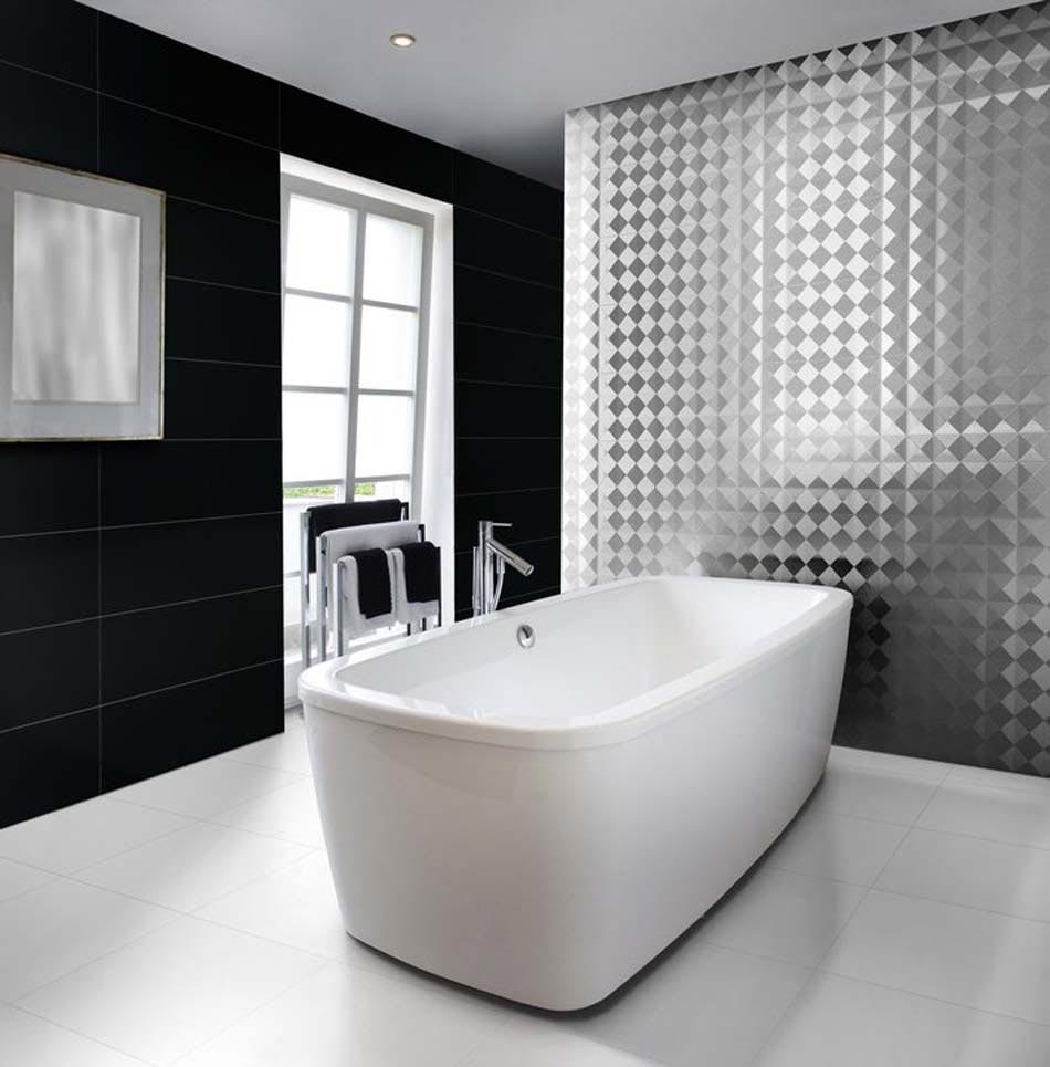 Carrelage salle de bain blanc gris for Salle de bain noir et blanc