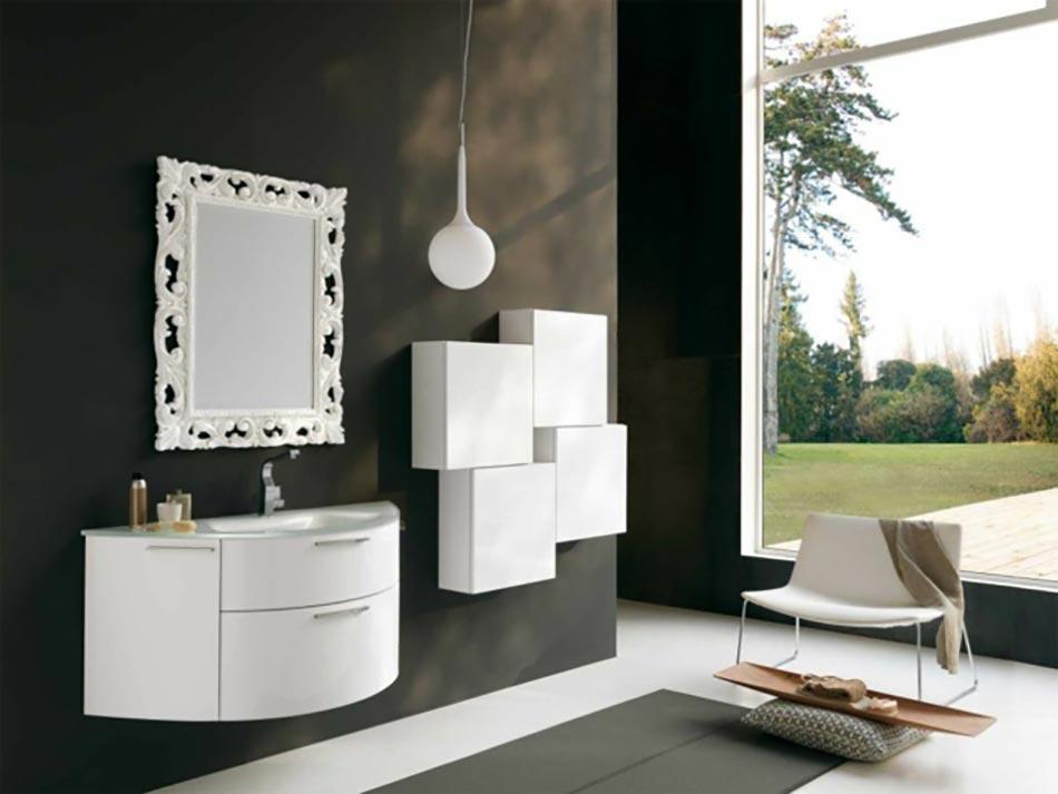 Concept De Salle Bains En Gris Et Blanc Au Miroir Glam