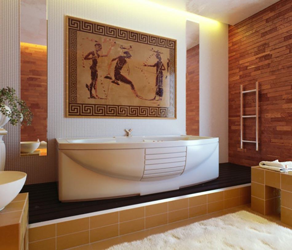 Salle de bain de luxe aux inspirations diverses design feria for Mosaique marbre salle de bain