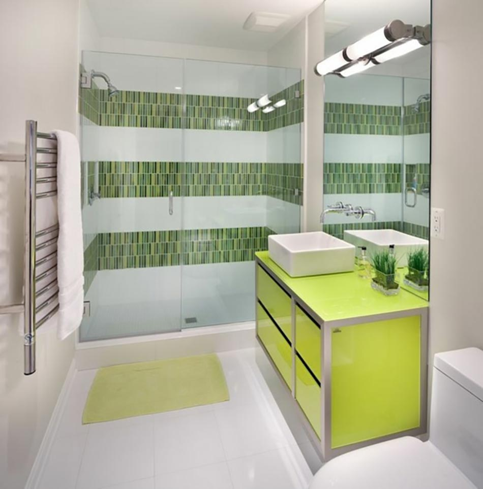 D co salle de bain blanc et vert for Salle de bain vert d eau