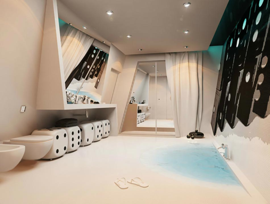 Salle de bain de luxe chic et originale design feria - Salle de bain de luxe moderne ...