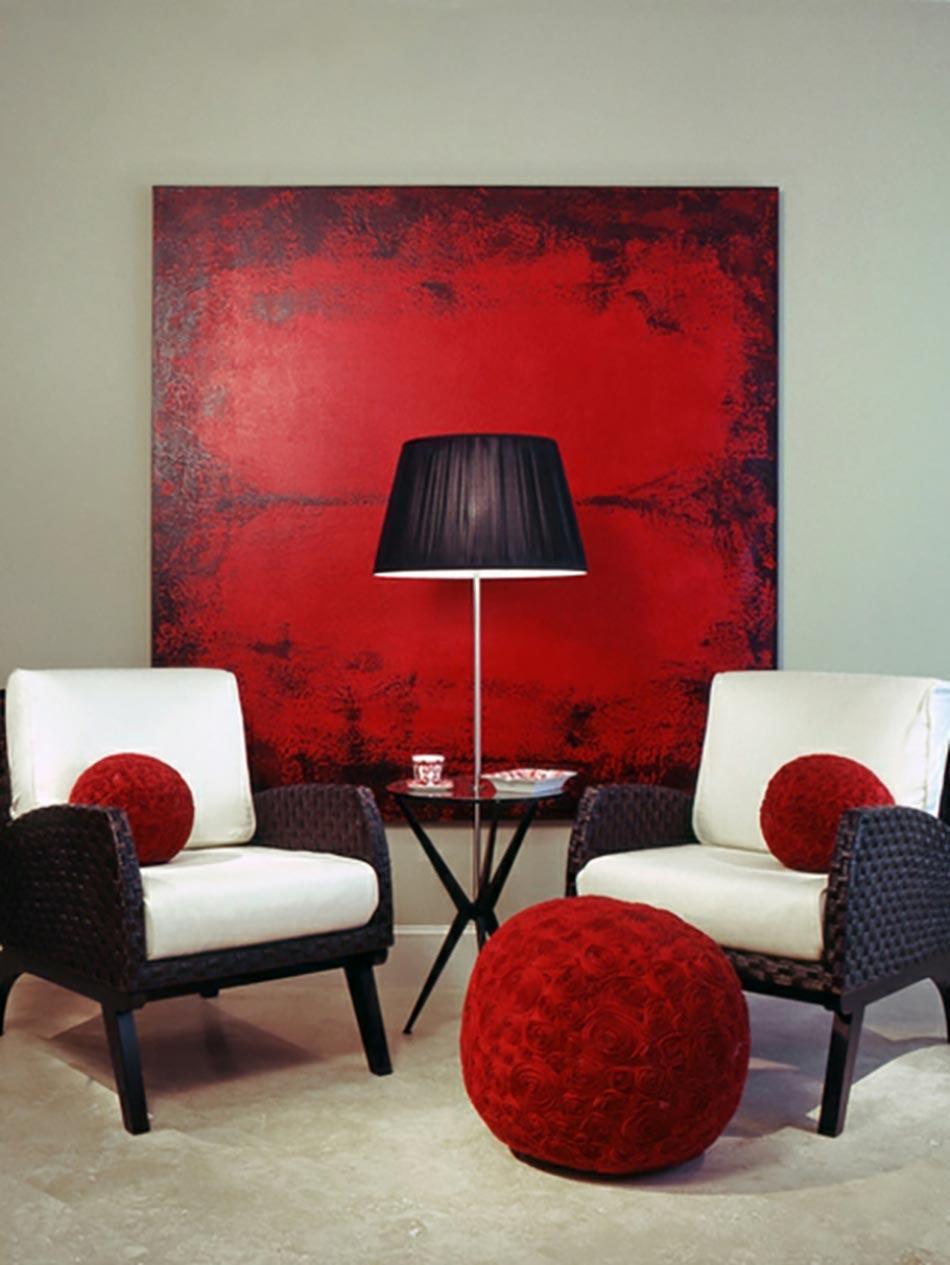 Une déco de salon avec du tempérament chaud en rouge | Design Feria