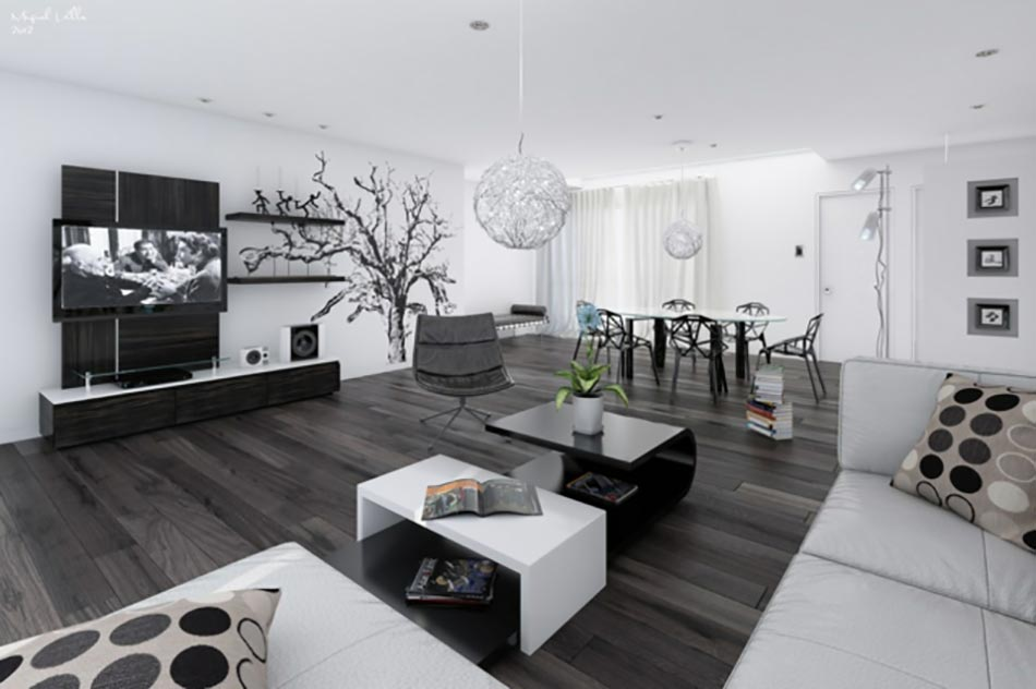 d coration salon moderne noir et blanc. Black Bedroom Furniture Sets. Home Design Ideas