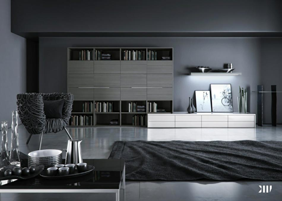 Salon Design Gris Noir Blanc