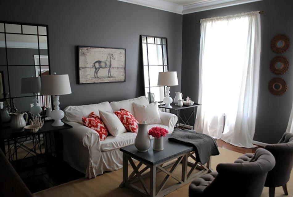 Peindre les murs int rieurs dans des couleurs sombres design feria - Mur gris anthracite salon ...