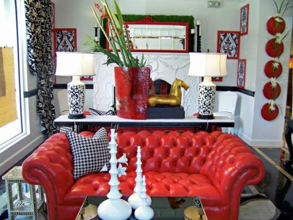 Une d co de salon avec du temp rament chaud en rouge design feria for Comdeco salon rouge blanc noir