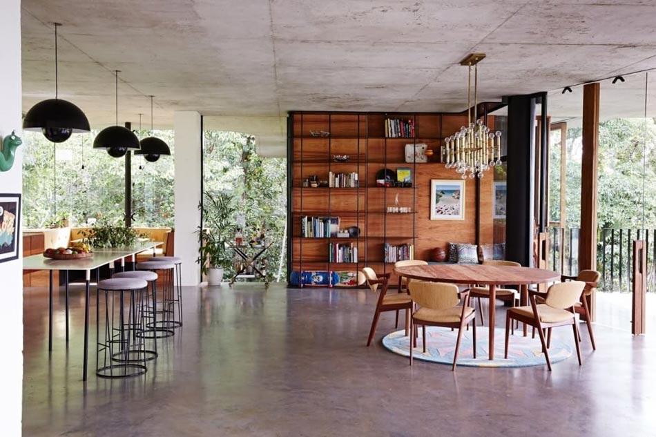 Genial Séjour Béton Meubles Rétro Maison Moderne