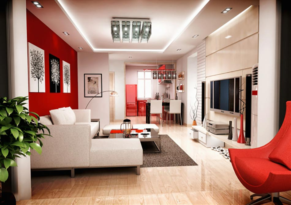 ameublement en rouge et blanc du sjour dun appartement - Salon Moderne Enrouge