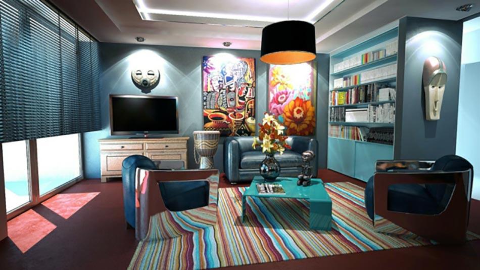 Architecture int rieure aux influences tr s clectique - Pitture decorative moderne ...