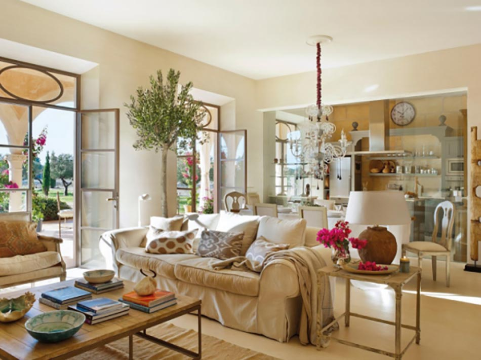 salon inond par la lumire naturelle diurne dans une maison de campagne - Maison De Campagne Moderne