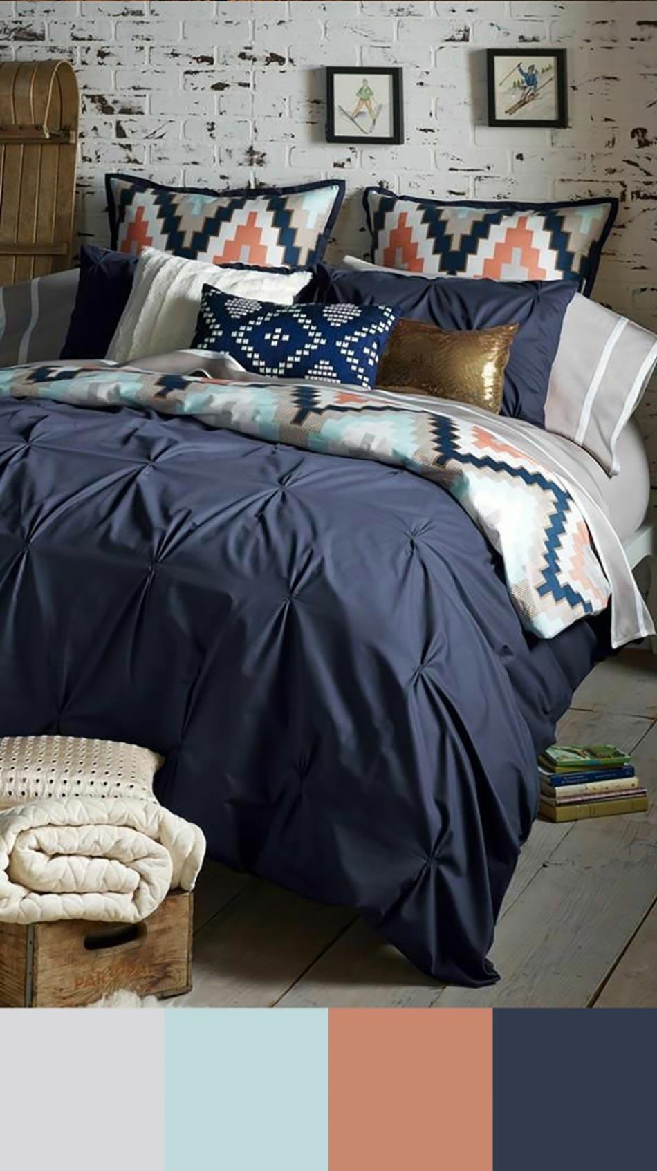 Tendance couleur chambre coucher unique design feria - Chambre bleu marine ...