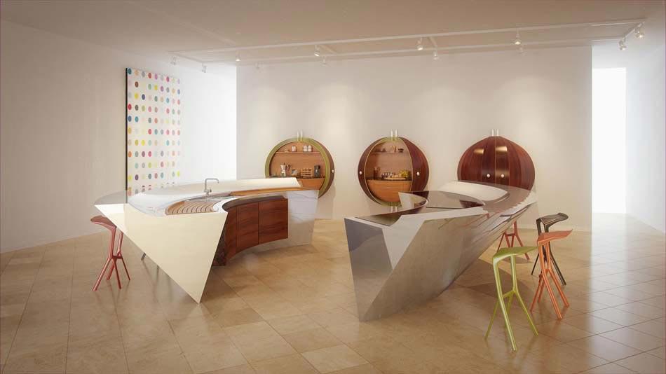 Merveilleux Belle Et Créative Cuisine Telle Quu0027elle Pourrait être Dans Une Maison De  Demain. Cuisine Moderne Design Futuriste