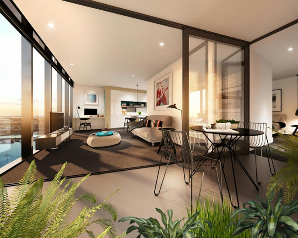 Pi ce de vie moderne dans un petit appartement de ville for Deco sejour studio