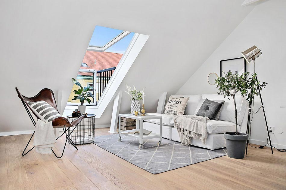 appartement sous le toit design minimaliste scandinave