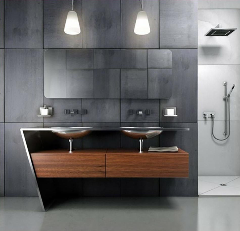 Salle de bain moderne pour une matin e coquette design feria for Mobilier salle de bain design contemporain