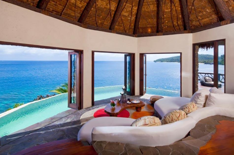 Superbe Destination De Reve Fidji Laucala Complexe. Vue Panoramique Imprenable Sur  Lu0027océan à Partir Du Séjour