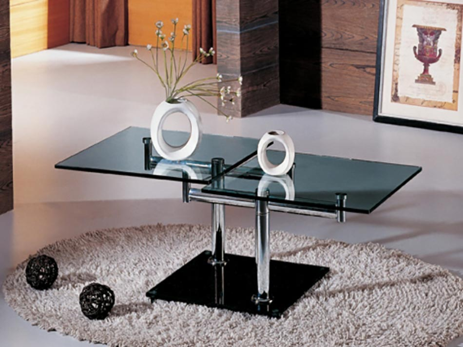 table basse design verre et acier contemporaine