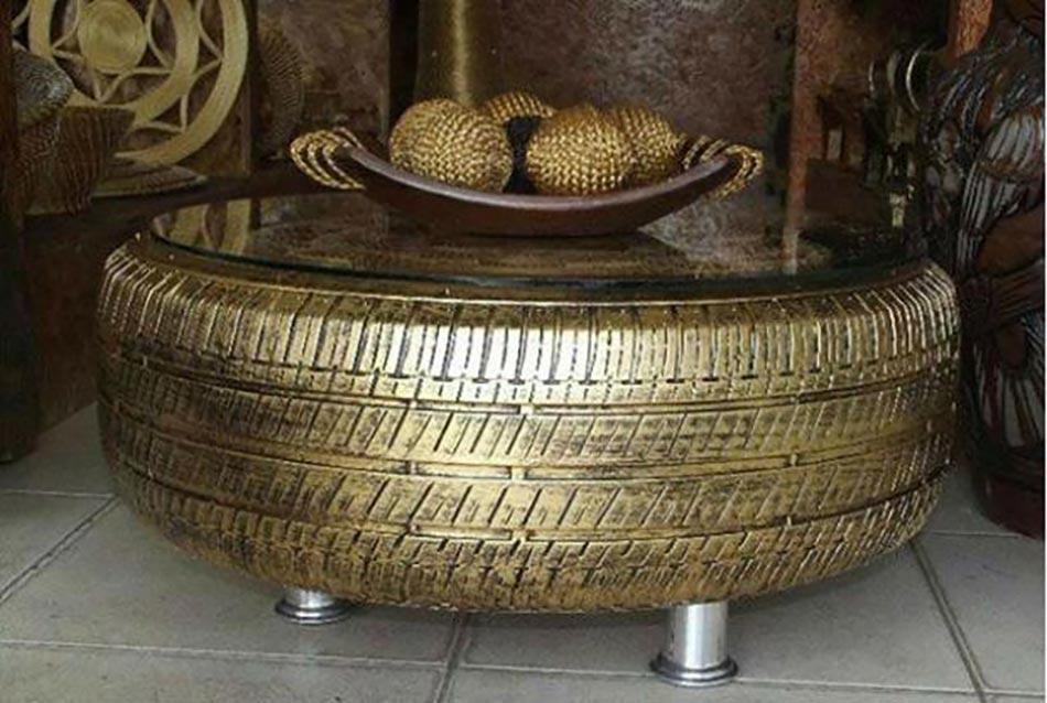 Id es d co pour la maison et le jardin l aide de pneus auto design feria - Idee table basse recup ...